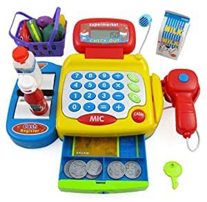 Supermarket Cash Register with Checkout Scanner, Microphone,