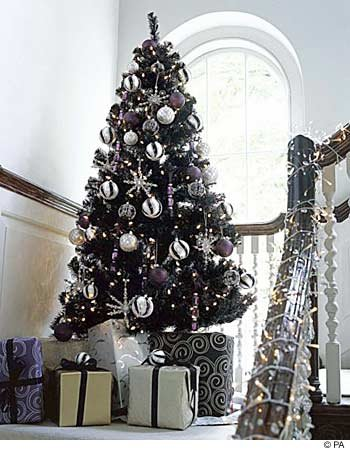 Prelit Art Christmas Trees - Black Artificial Christmas Tree &amp; Stand Tuxedo Style