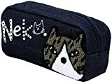 (パケカドー) Paquet du Cadeau ポーチ レディース ペンケース ネコ 猫 キャラクター ネコ刺繍 ユニセックス メンズ 5color Free ネイビー