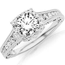 buy 1.5 Carat Designer Halo Channel Set Round Diamond Engagement Ring With Milgrain 14K White Gold With A 0.75 Carat H-I Vs2-Si1 Round Brilliant Cut/Shape Center