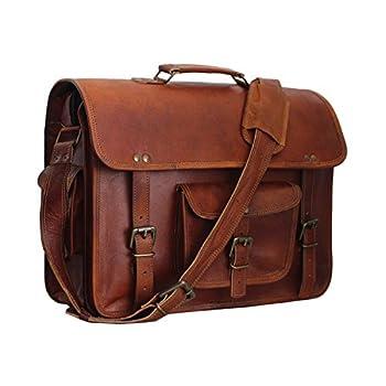 """Vintage Leather Laptop Bag 15"""" Messenger Handmade Briefcase Crossbody Shoulder Bag"""