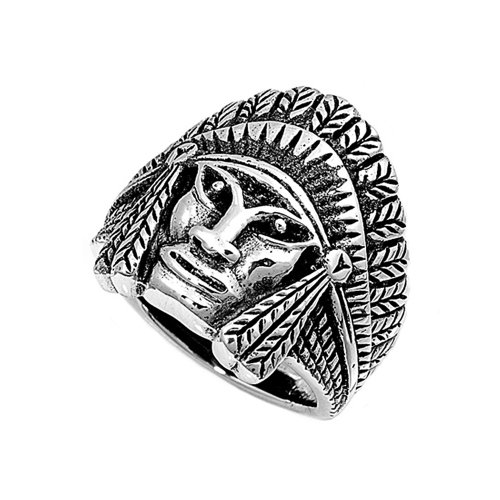 Sterling Silver Native American Chief Men'S Ring - Size 8