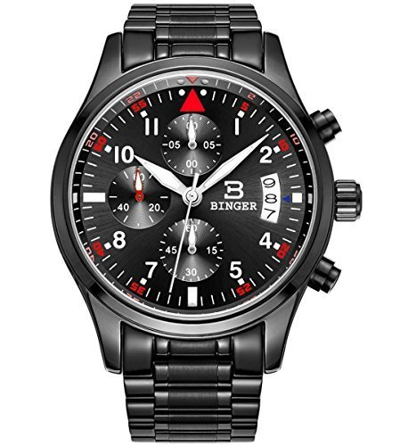 BINGER Men's Date Black Military Multifunction Chronograph Watches Stainless Steel Luminous Numerals, standard size/black red white