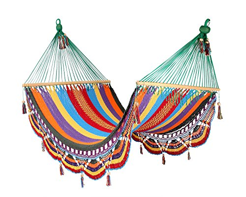 Artisan Handwoven Hammock 13 Ft 2 Person 500 Lbs (Multicolor/green)