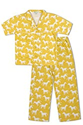 GreenApple Girls Organic Cotton Horse Pattern Pyjama Set (FVGA035, Yellow, 7-8 Years)