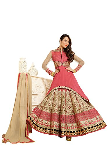 Peach Colour Georgette Wedding Wear Heavy Zari Thread Embroidery Churidar Anarkali Suit 3602