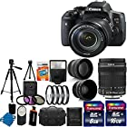 Canon EOS Rebel T6i 24.2MP Digital SLR Camera USA warranty With Canon EF-S 18-135mm f/3.5-5.6 IS STM Lens + 58mm 2x Professional Lens +High Definition 58mm Wide Angle Lens + Auto Power Flash + + UV Filter Kit with 24GB Complete Deluxe Accessory Bundle