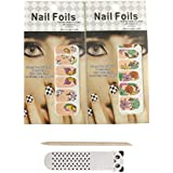 Aukmla Nail Art Wrap - Story Of Butterfly And Flower Nail Patches 2 Pack Nail Strips (12 Nail Decoration Stickers...