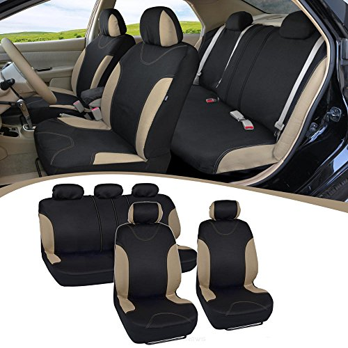 Tan Trim Black Car Seat Covers Full 9pc Set - Sleek & Stylish - Split Option Bench 5 Headrests Front & Rear Bench (Seat Covers Mazda Tribute compare prices)