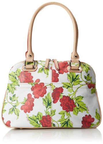 Tignanello Bed Of Roses Dome Satchel Pebble Printed Leather Top Handle Bag,Red Rose,One Size