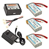 HOBBYTIGER Upgrade MJX X101 Lipo Battery 7.4V 1200mAh 30C (3 PCS) + AC Balance Charger +3in1 Charging Cable Quadcopter Parts