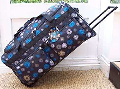 Travel Holdall trolley Luggage Bag On Wheels Black Spiral medium size