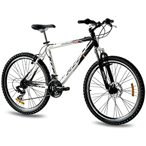 "26"" KCP MOUNTAIN BIKE EVOLUTION ALLOY MEN with 18 speed SHIMANO white black - (26 inch)"