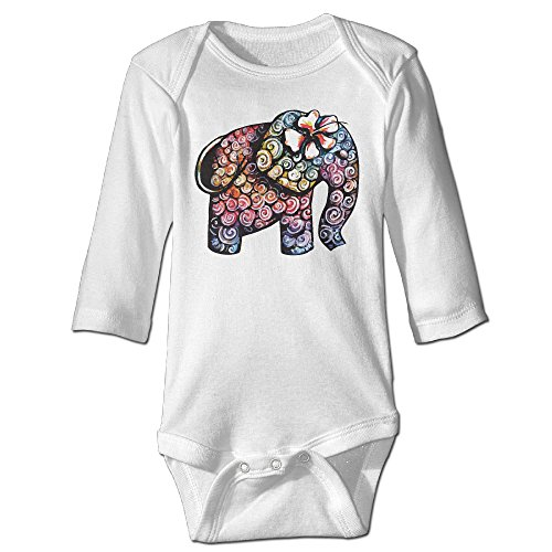 [Tattoo Elephant Funny Cartoon Colorful Cute Boy And Girl Baby Climb Clothes 6 M White] (Dances With Wolves Costumes Designer)