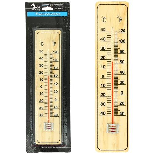 Promobo -Thermomètre en bois Naturel à Alcool usage intérieur et extérieur
