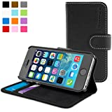 iPhone 5 / 5S Case, SnuggTM - Black Leather Wallet Case and Stand with Card Slots & Soft Premium Nubuck Fibre Interior - Protective Apple iPhone 5 / 5S Flip Case Cover - Includes Lifetime Guarantee