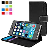 Coque iPhone 5/5s, Snugg(TM) - �tui � Rabat de type Flip Cover / Smart Case En Cuir Noir Avec Garantie � Vie Pour Apple iPhone 5 et iPhone 5s