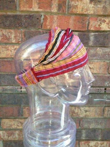 Inspirit Arts Small Peach Maroon Headband Expandable Handwoven Open Net Weave Lightweight Bandana Headwrap Elastic 100% Cotton Hair Scarf front-527811