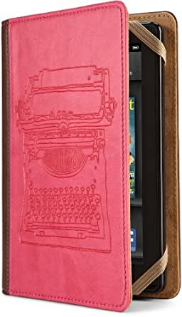 Verso Typewriter Case Cover by Molly Rausch (Fits Kindle Fire), Pink/Tan (will not fit HD or HDX models)