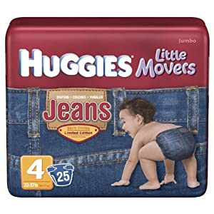 Huggies Little Movers Diapers, Jeans, Size 4 (22-37 lb), Jumbo, 25 ct.