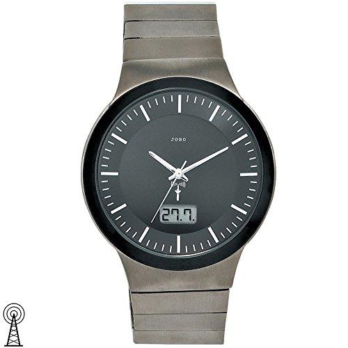 JOBO Herren-Funk-Armbanduhr Titan Mineralglas Funkuhr Datumsanzeige
