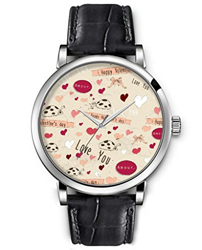 Wrist Watch For Women Analog Silver Face Black Leather Quartz Unisex Silver Watches Ideal Gift Clear Print Fashion Design Ladybugs And Bow Ties And Hearts