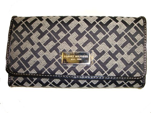 WOMEN'S TOMMY HILFIGER CHECKBOOK WALLET (BLACK ALPACA)