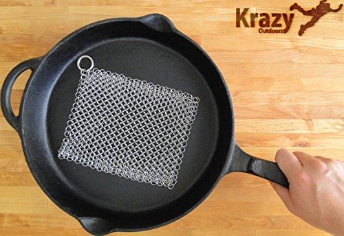 Krazy-al-aire-libre-Acero-inoxidable-Chainmail-Scrubber-para-sartenes-de-hierro-fundido-Cookware-XL-203-x-152-mm-316-Alto-grado-inoxidable-Limpiador-seguro-y-fcil-de-hierro-fundido