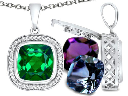 Switch-It Gems (tm) Cushion Cut 10mm Simulated Emerald Pendant with 12 Interchangeable Simulated Birthstones in 925 Sterling Silver (Switch Gem Necklace compare prices)