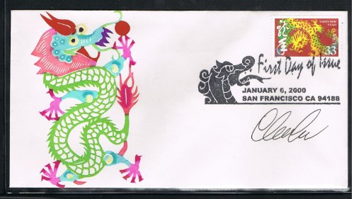 2000 -The 8th USA Lunar Stamp for The Year of the Dragon First Day Cover With Dragon Cancellation-Cachet by Handmade Paper-Cut-Limited Edition- Autographed by Stamp Designer: Clarence Lee