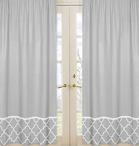 Gray and White Trellis Collection Gray Window Treatment Panels - Set of 2 (Interior Designer Glass Doors compare prices)