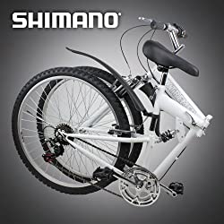 "26"" Folding Mountain Bike Foldable Bicycle 6 SP Speed Shimano, White Color by FH"