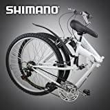 New 26″ Folding Mountain Bike Foldable Bicycle 6 SP Speed Shimano, White Color
