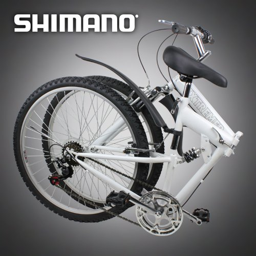 "Sale!! New 26"" Folding Mountain Bike Foldable Bicycle 6 SP Speed Shimano, White Color"