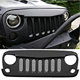 Sunroadway® 2015 Latest Front Matte Grill Mesh Angry Bird Grille with Mesh Inserts Grid For jeep Wrangler Rubicon Sahara Jk 2007-2015 (Black with Mesh inserts)