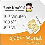 DeutschlandSIM SMART 300 [SIM und Micro-SIM] monatlich kündbar (300MB Daten-Flat mit max. 7,2 MBit/s, 100 Frei-Minuten, 100 Frei-SMS, 5,95 Euro/Monat, 15ct Folgeminutenpreis) O2-Netz