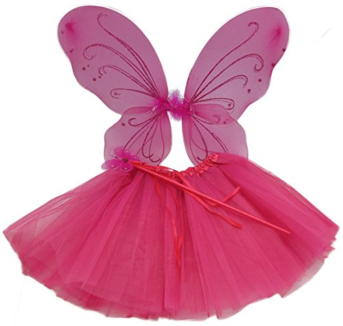 Hot Pink Princess Costume Set with Wings, Dance Tutu, and Butterfly Wand