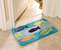 Luxbon Microfiber Non-Slip Water-absorbing Super Cute Blue Fish Pattern Bathroom Doorway Kitchen Floor Rug Carpet Mat Kid\'s Rug-19.6x31.4\