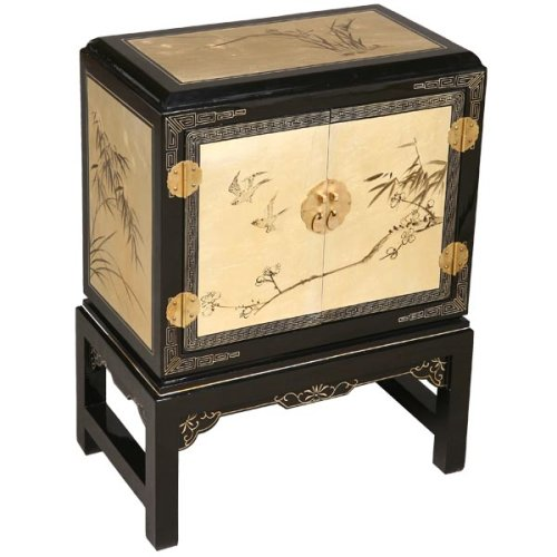 Cheap EXP Handmade Asian Furniture – 26″ Black & Gold Lacquer Wood Oriental Storage Cabinet / End Table (B001JI5N8G)