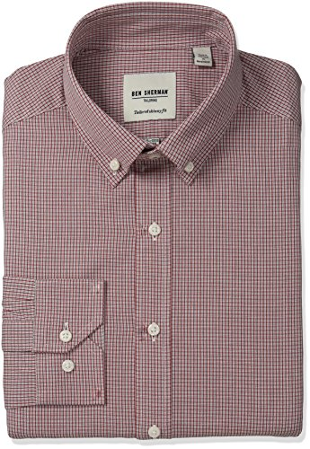 ben-sherman-mens-twill-check-shirt-with-button-down-collar-rust-navy-16-neck-34-35-sleeve
