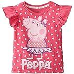 Peppa Pig Little Girls' Glitter Dot Ruffle Sleeve Top, Multi, 2T