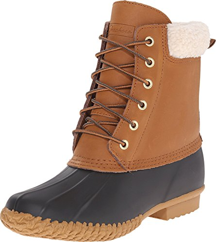 Skechers Women's Duck Boot Snow Boot, Black/Tan, 8 M US