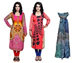 Indistar Women Pashmina Jaamavaar Digital Printed Unstitched Kurti Fabric Combo With Super Soft Wool Stole