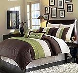 "Legacy Decor 8pcs Modern Brown Sage Beige Comforter (90""x92"") Set Bed in Bag - Queen Size Bedding"