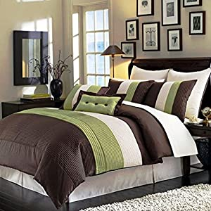 Legacy Decor 8pcs Modern Brown Sage Beige Comforter (90