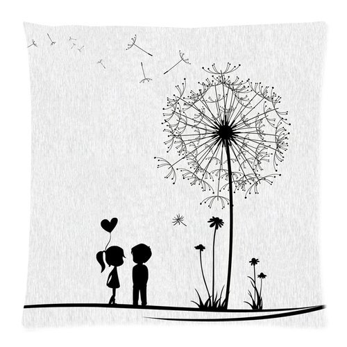 """Black Young Couple Love Kiss Beside Dandelion Fly White Custom Zippered Pillow Cushion Case Throw Pillow Covers 18""""X18""""(Two Sides) front-931408"""