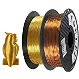 Noulei 2PCS 3D Printer Filament PLA Silk Golden Gloss 1.75mm 1KG 2.2LBS Spool with Two Colour Gold Copper