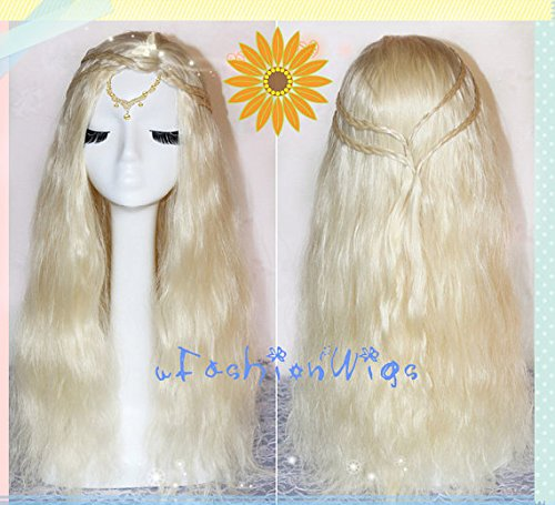 [A Song of Ice and Fire Daenerys Targaryen Long White Blonde Cosplay Wig, White Blonde Long Costume Anime Wigs for Party] (Fire And Ice Party Costumes)