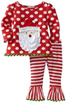 Mud Pie Baby-Girls Infant Santa Tunic And Leggings Set, Multi Colored, 12-18 Months