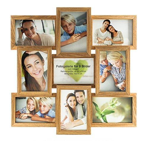 levandeo holz bilderrahmen hochwertig verarbeitet f r 9 fotos 10x15cm mit glasscheiben in farbe. Black Bedroom Furniture Sets. Home Design Ideas